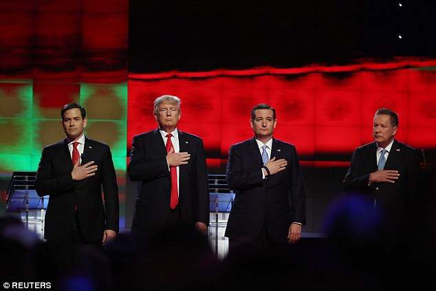 Thursday night's Republican presidential primary debate in Miami began without any fireworks. Pictured from left,Marco Rubio, Donald Trump, Ted Cruz and John Kasich listen to the National Anthem