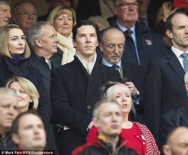 A-list supporter: Benedict joined a star-studded crowd including Prince Harry to watch England v Wales