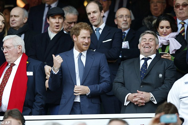 He Sher-locks familiar! Prince Harry seemed surprise to see Benedict Cumberbatch among the star-studded crowd at Twickenham stadium on Saturday as they watched the rugby Six Nations