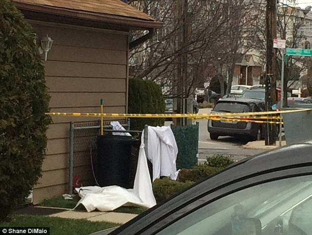 Rahman went to Staten Island University Hospital Friday evening and told staff that she was bleeding as a result of giving birth, police said. The hospital had no record of her birth and she explained that the infant was born at home and that she had disposed of it. Pictured is the scene where the newborn's body was discovered