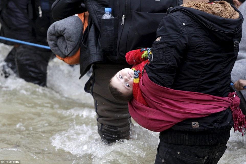 Muchos de los migrantes fueron vistos agarrando a sus hijos mientras negociaban con cuidado su camino a través del río y en la foto, un niño pequeño envuelto en un chal, cuelga de la tela - a poca caída del agua helada a continuación
