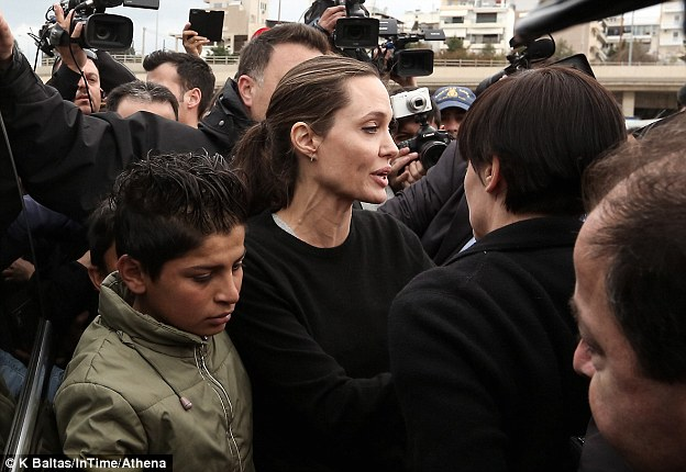 Jolie, 40, a special envoy for the United Nations refugee agency, struggled to move through the crowd