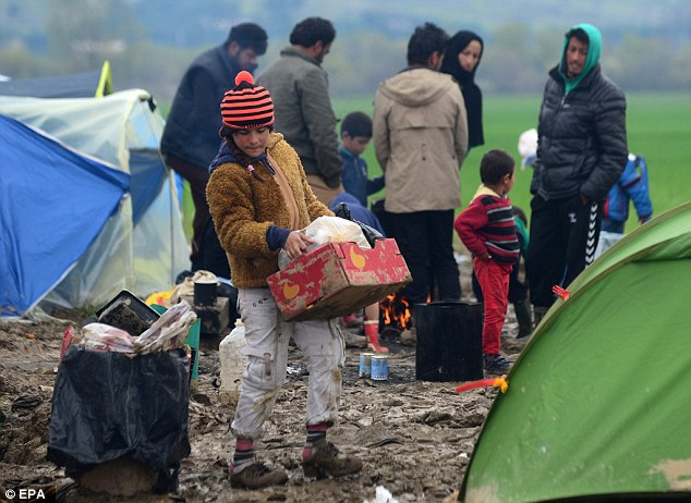 A government source said the PM will warn that clamping down on the migrant route through Turkey and Greece could see even more migrants try to cross via Libya (pictured, Idomeni migrant camp)