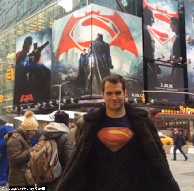 Cheeky: Henry Cavill posted a hilarious video of him going completely unnoticed as he hung out in Times Square wearing a Superman T-shirt next to huge billboards of his upcoming blockbuster