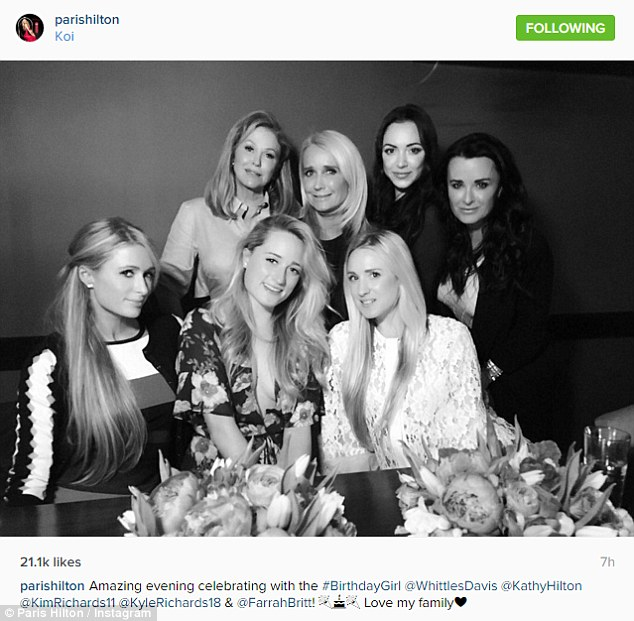 Family first: Kathy, Kim and Kyle looked like three happy sisters in this shot shared by Paris Hilton on Wednesday