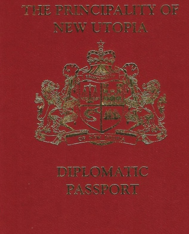 There are said to be just a handful of diplomatic passports of the Principality of New Utopia