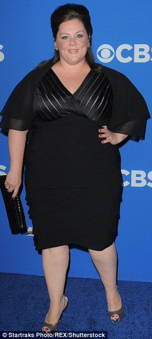 Smaller now: Melissa McCarthy revealed during a press conference for The Boss that she is now a size 14 after losing 50 pounds; here she is seen in 2010 (left) and in January (right)