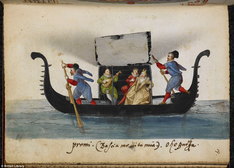 The witty painting gives viewers a voyeuristic glimpse of a romantic scene on a gondola in 16th-century Venice because under the flap is a picture of a flirtatious couple being serenaded by a lute player. This may have inspired scenes in The Merchant of Venice