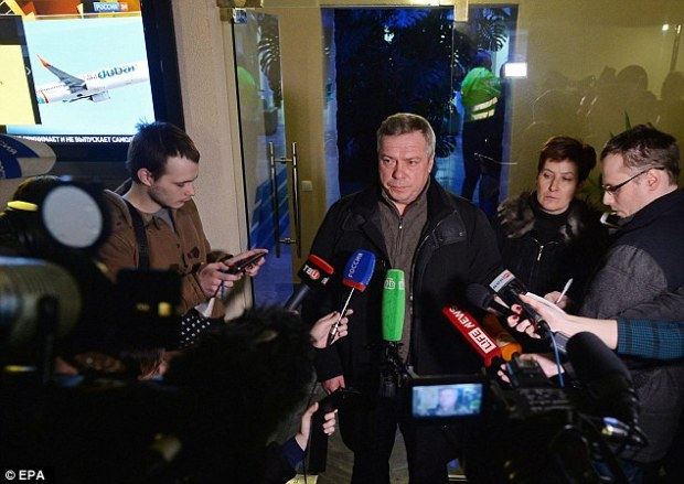 Governor of Rostov region Vasily Golubev (above) talks to the media in a terminal of Rostov-on-Don airport about the plane crash. He was quoted by Russian news agencies as telling local journalists that the plane crashed about 250 meters (800 feet) short of the runway