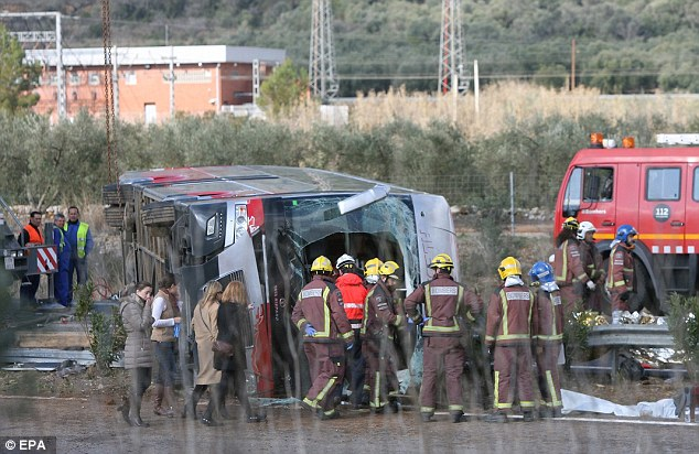 Catalonian Interior Minister Jordi Jane confirmed the students on board the bus, pictured, were part of the European Erasmus exchange programme