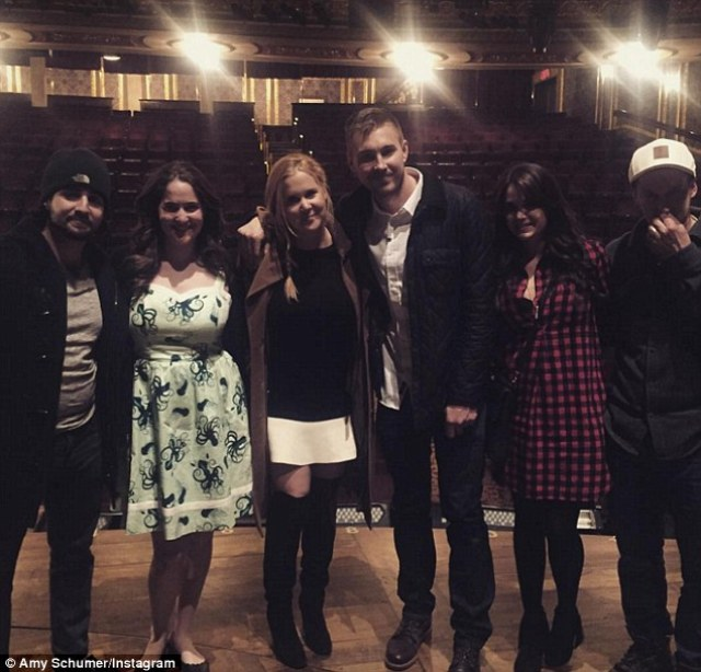 Night out: Schumer and friends enjoyed the show Hamilton in New York on Saturday night, before going for a post-show drink, where Amy left a $1,000 tip