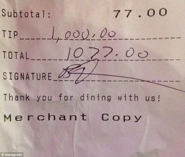 Thankful: A bartender wrote 'And then Amy Schumer comes into your work and does something amazing!'