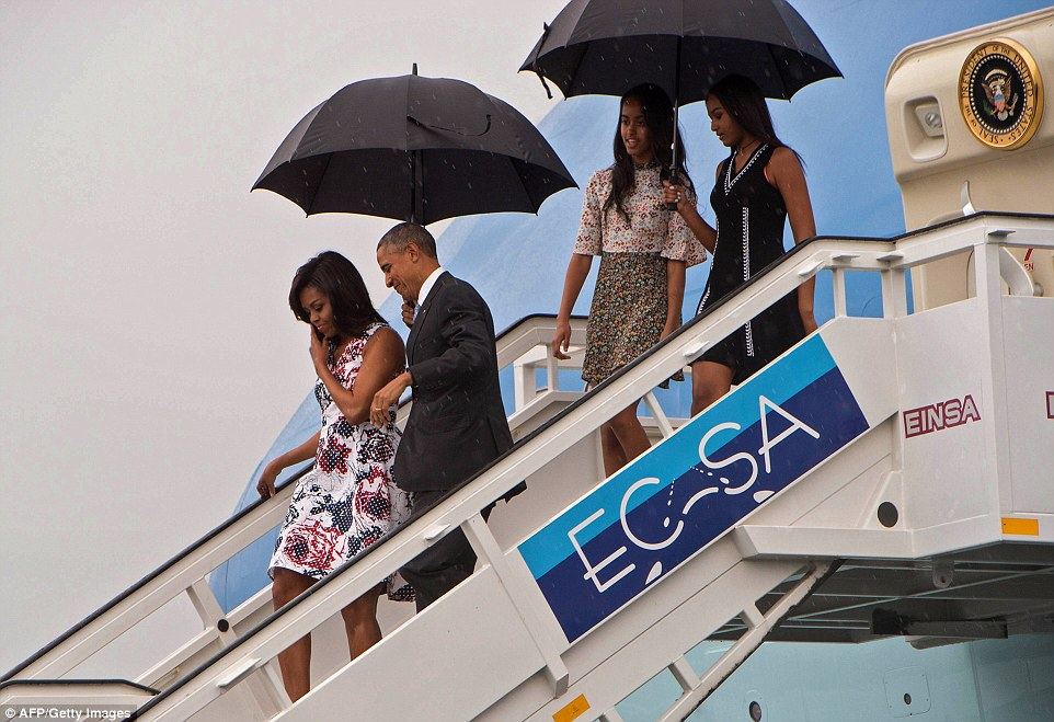 The President, First Lady, Malia and Sasha Obama were all on board Air Force One as it landed in Havana, Cuba, for the first time