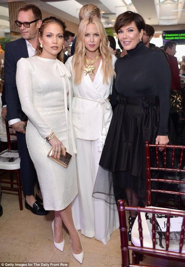 Stylish trio: Monochrome beauties Jennifer, Rachel and Kris cosied up for a snap