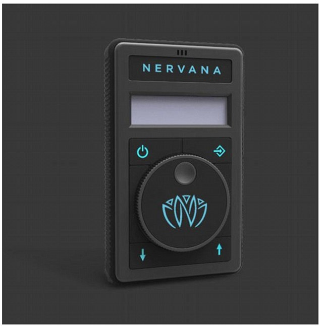 The Nervana (pictured) has three modes of play. 'Music mode' analyses incoming music and generates a synchronised signal so the listener can 'feel the music'. 'Ambient mode' uses an internal microphone to pick up sound from the wearer's environment, and 'formula mode' stimulates the vagus nerve without music