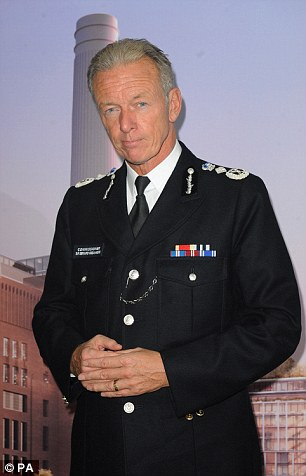 Last month, Sir Bernard Hogan-Howe (pictured) was snubbed over a new long-term contract as he tried to justify sending 22 officers to raid Lord Bramall's home