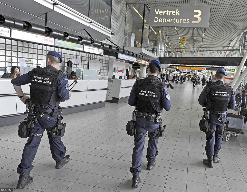 Dutch military police were carrying out additional high-visibility patrols at Schiphol Airport in Amsterdam