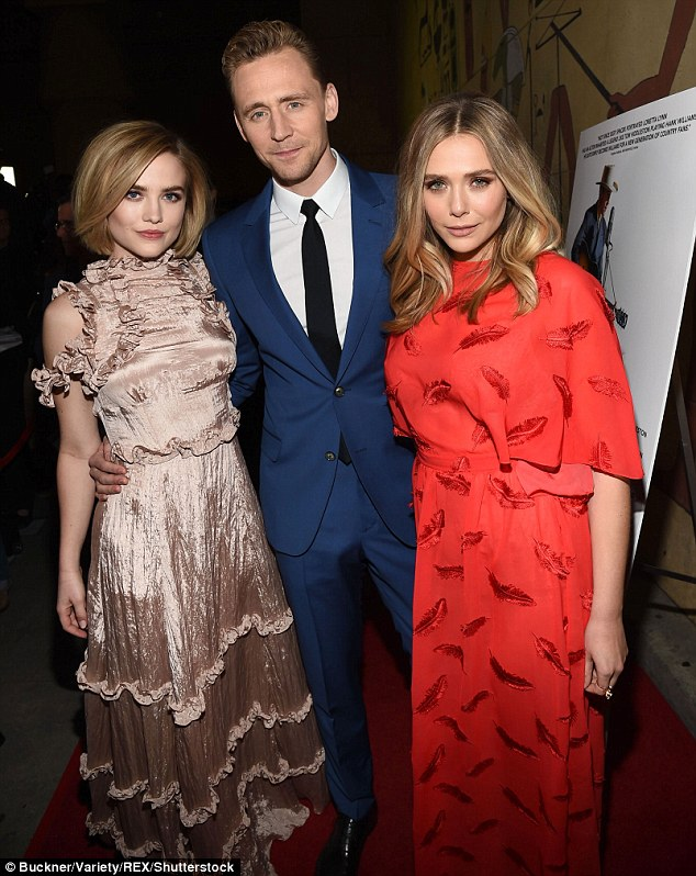 Biopic: Maddie Hasson, who plays Hank Williams' second wife Billie Jean, attended the premiere in a frilly pink dress