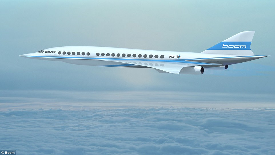 Created by aerospace company Boom, the jet nicknamed 'Baby Boom' could pave the way for the larger Boom passenger jet (pictured) and usher in a new era of affordable supersonic travel