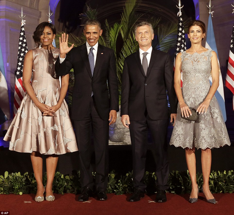 Obama is currently taking part in a two-day state visit to Argentina to meet with new leader President Mauricio Macri (center right) in the hopes of fostering closer relations with the emerging economy