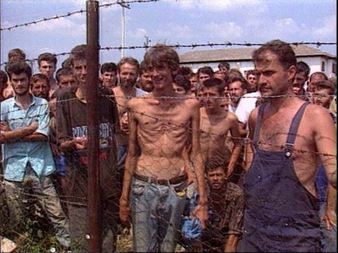 Pictures that shocked the world: Prisoners were kept in horrific conditions while many Bosnian men were slaughtered without mercy