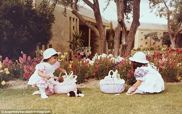Eatser fun: On Thursday, Kourtney Kardashian shared some sweet snaps of her and sister Kim when they were just wee ones during an Easter celebration
