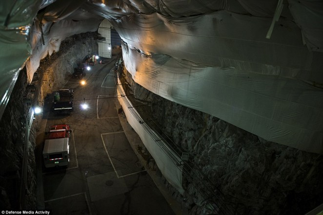 Getting to the tunnel entrance requires you to go through two security checkpoints. The tunnel stretches miles through the solid mountain, so if there is an explosion outside the blast waves would funnel past the facilities entrance