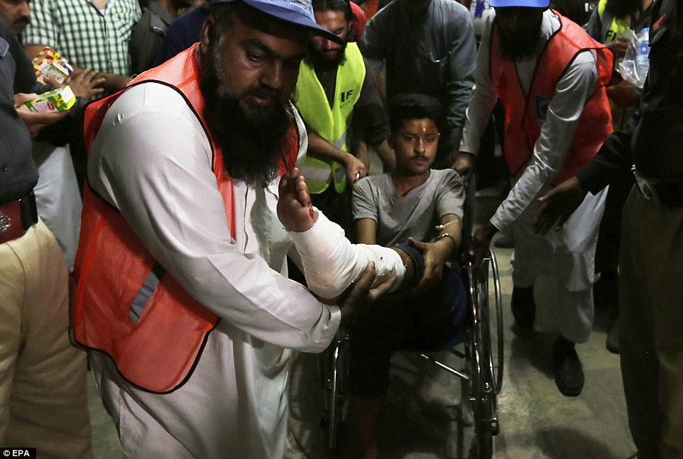 A boy who was injured in a suicide bomb, after which the health minister called on people to give blood so that they could treat the hundreds of casualties
