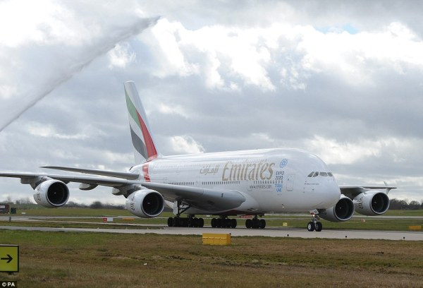 Emirates Airbus A380 arrives at Birmingham Airport for the ...