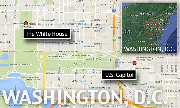 This map shows the proximity of the White House to the US Capitol, just the other side of the National Mall