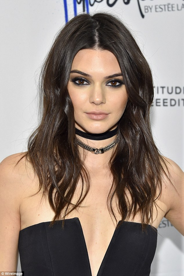 Kendall added edge to her look with the Armure Link Front Leather Wrap Choker Rhodium Necklace by Fallon Jewelry, $285; fallonjewelry.com