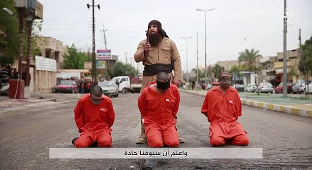The remaining final minutes of the video are too graphic to describe with the bearded executor murdering the three blindfolded prisoners in red jumpsuits.