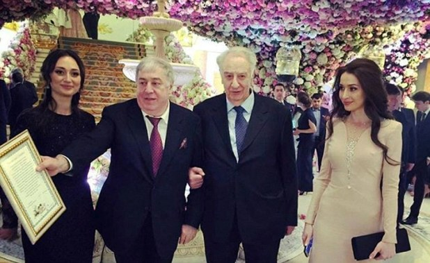 Proud moment: Father of the groom Mikhail Gutseriev (second lefts) reportedly splashed out around $1 billion on the lavish ceremony