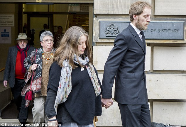 Bailey's mother Kate Gwynne and partner John Henderson are followed out of the court today by Bailey's grandparents