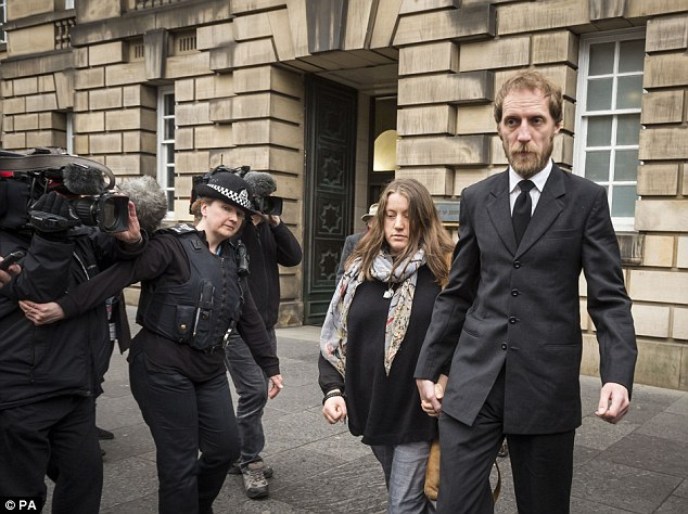 Kate Gwynne, mother of murdered Aberdeen school boy Bailey Gwynne, and her partner John Henderson leave Edinburgh High Court after the sentencing of her son's killer