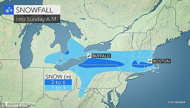 Slippery: 'Interior sections [of the Northeast] can expect slippery conditions into Sunday morning,' said Meteorologist Michael Doll