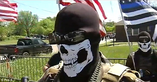 Anti-Muslim protesters from the Bureau of American Islamic Relations turned up at a Nation of Islam Mosque in Dallas with rifles and clad in skeleton masks to confront members of the New Black Panther Party