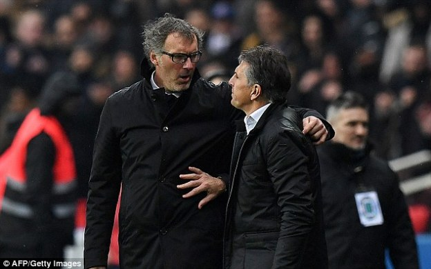 Laurent Blanc (left), the PSG manager, is reportedly on a contract which is worth £4million a year