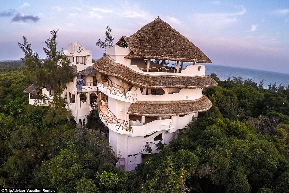 Spectacular views: Nestled high in the trees on a breathtaking stretch of Watamu beach in Kenya is the Watamu Treehouse