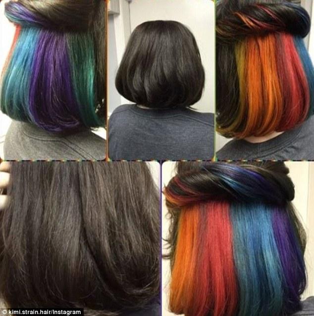 Women Show Off Their Hidden Secret Rainbow Hair Colour