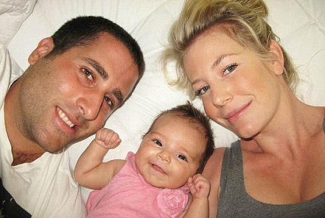 Sally Faulkner, pictured with her ex-husband Ali El Amine with their child in happier times, hired a child recovery agency to retrieve her children from Beirut and they are now in hiding with the operatives and 60 Minutes in police custody