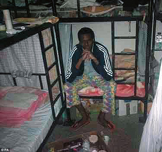 Karl Williams claims he saw men torn apart by knife-wielding inmates, while others were forcibly infected with HIV during his time in the hellish Dubai prison. Here he is pictured in his cell during the horror ordeal