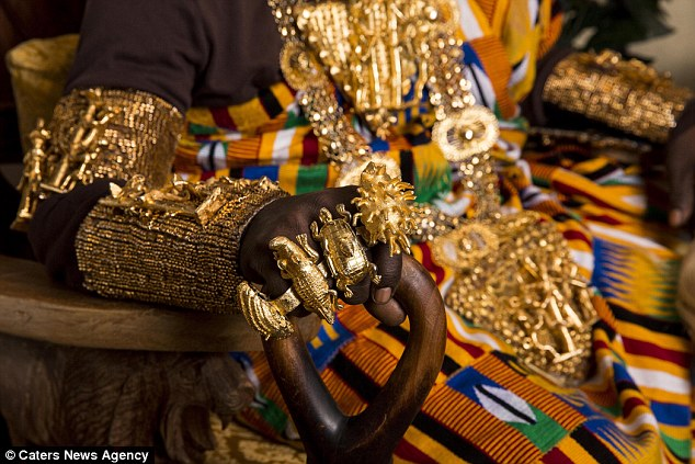 Ornate:His kingdom, Gbi in Eastern Ghana on the border of Togo, consists of 300,000 Ewe people