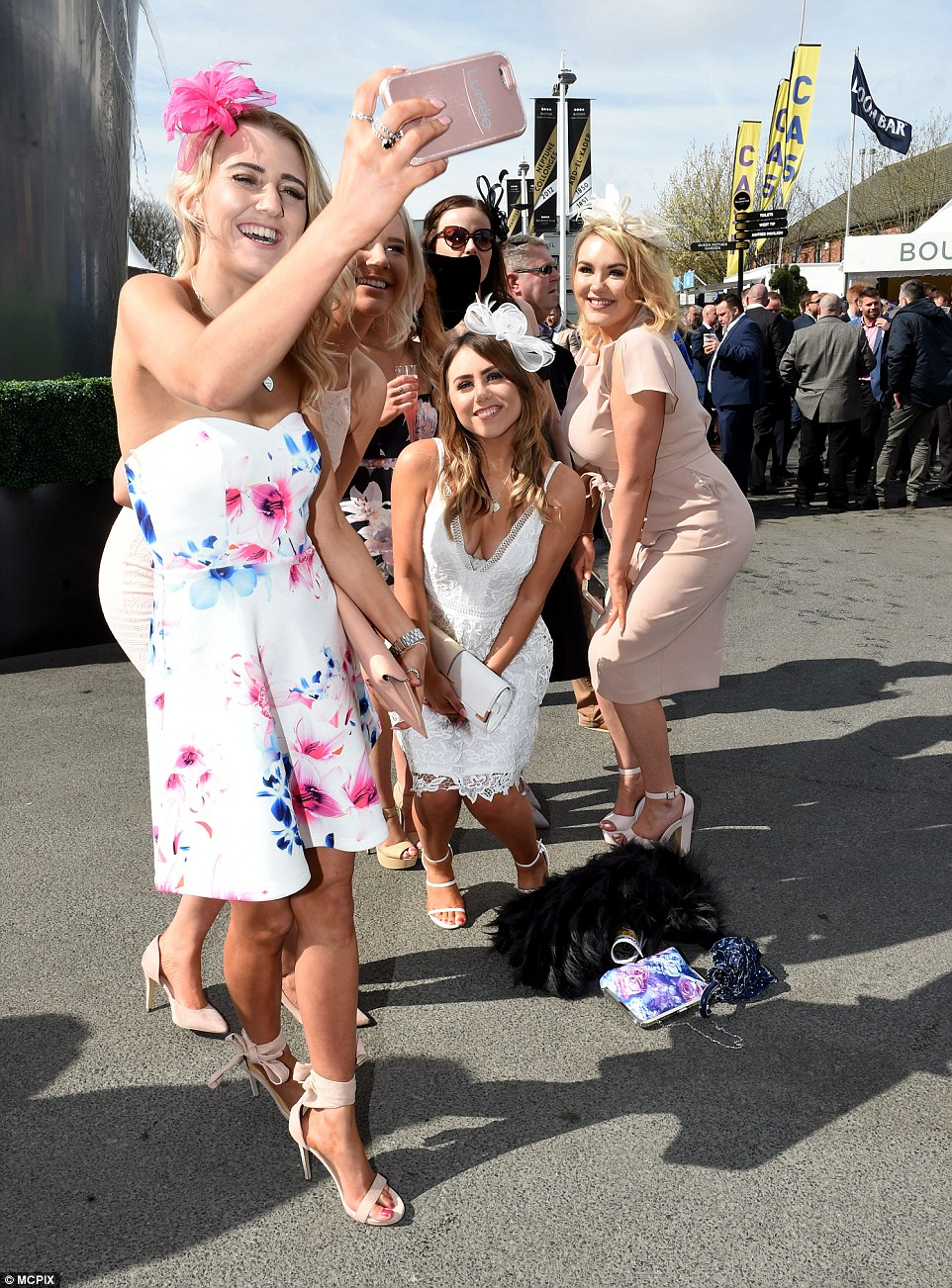 But first let me take a selfie: A group of girls posed for a photo to commemorate their big day out