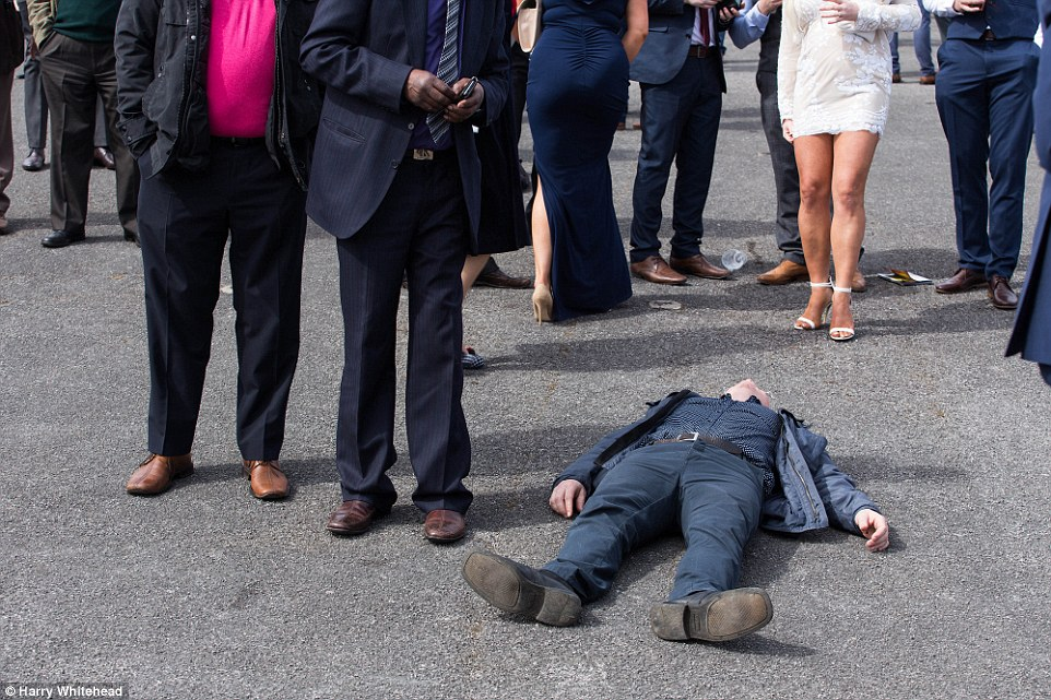 The champagne seemed to be flowing from a much earlier hour at today's meeting and one man was seen lying on the ground, appearing to have drunk too much even before the first race of the day