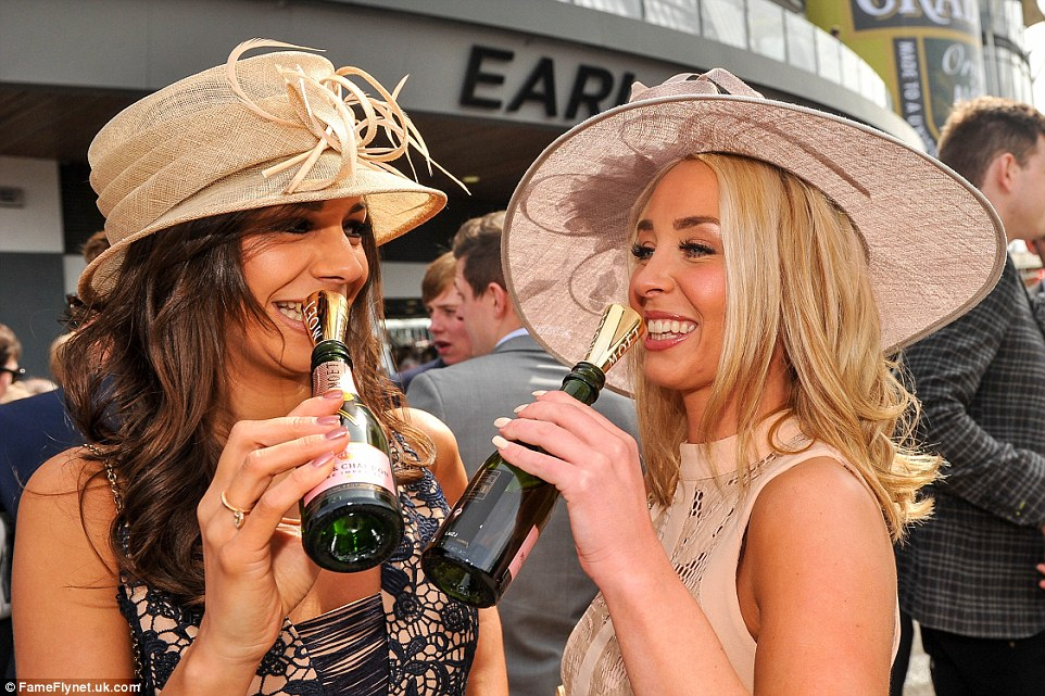 Luckily most people made use of miniature champagne funnels introduced at last year's Cheltenham Festival to cut out the need for plastic glasses and discourage people sipping straight from the bottle