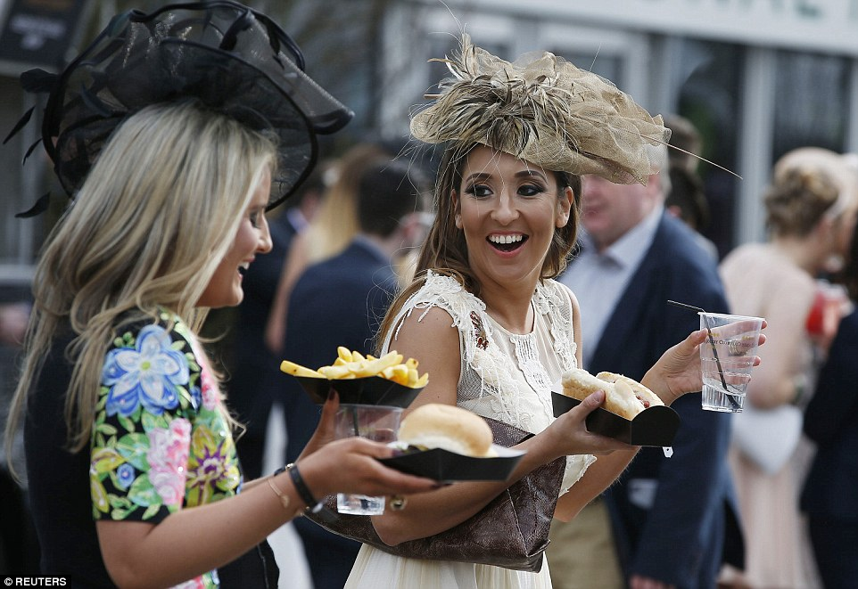 When the chips are down: Ladies enjoy a snack between races
