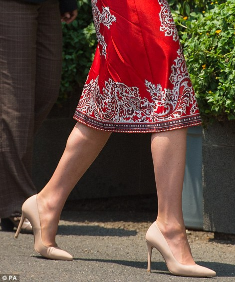 Kate wore a pair of Gianvito Rossi courts (pictured), with a pointed toe, costing £445