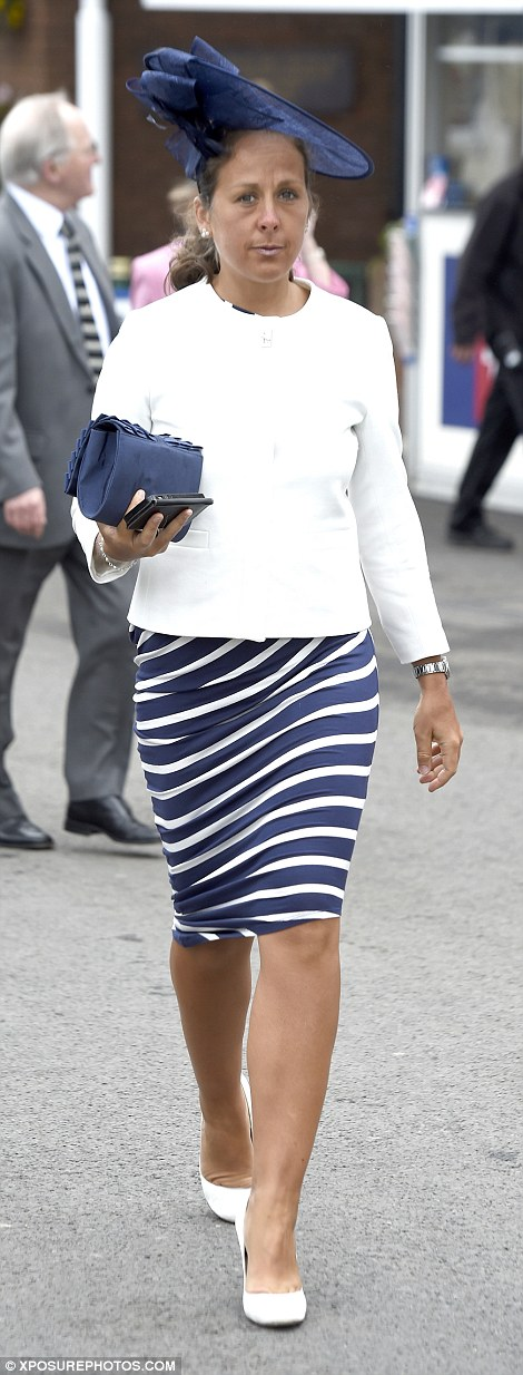 A woman in chic navy and white looked like an early contender for Best Dressed Lady