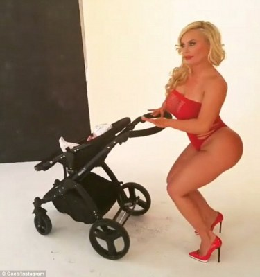 Curvaceous: Coco posed seductively as the shoot was for her lingerie range Cocolicious